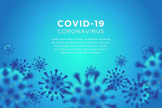 Blauer hintergrund des covid-19-coronavirus Premium Vektoren