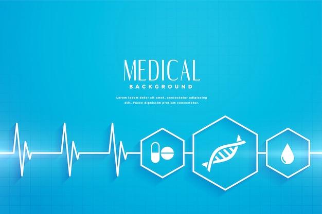 Blauer hintergrund für gesundheitswesen und medizinisches konzept Kostenlosen Vektoren