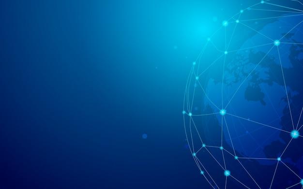 Blauer hintergrund-illustrationsvektor der weltweiten verbindung Kostenlosen Vektoren