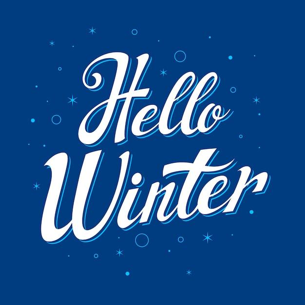 Blauer hintergrund mit hallo winterbeschriftung Kostenlosen Vektoren