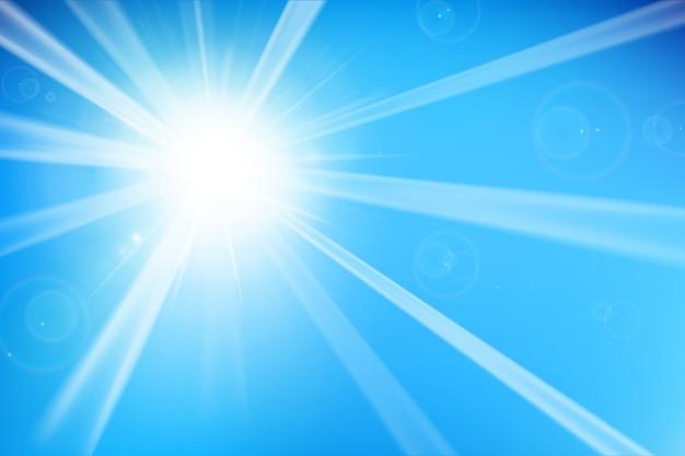 Blauer hintergrund mit sonnenlicht Premium Vektoren
