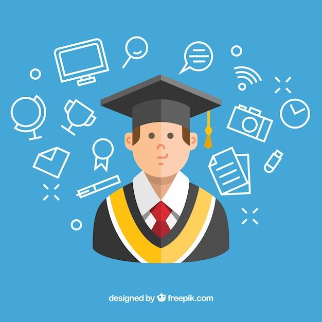 Blauer hintergrund mit studenten und graduierung artikel Kostenlosen Vektoren