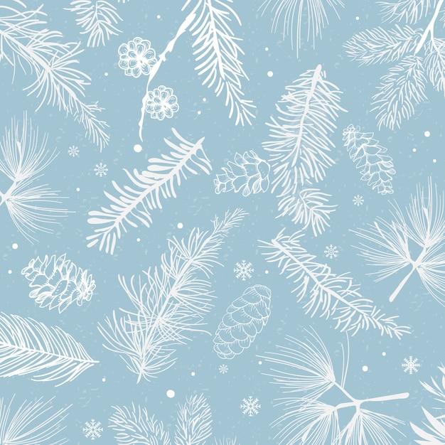 Blauer hintergrund mit winterdekorationsvektor Kostenlosen Vektoren