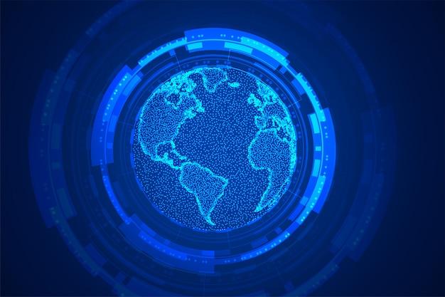 Blauer hintergrundentwurf des globalen technologieerdekonzepts Kostenlosen Vektoren