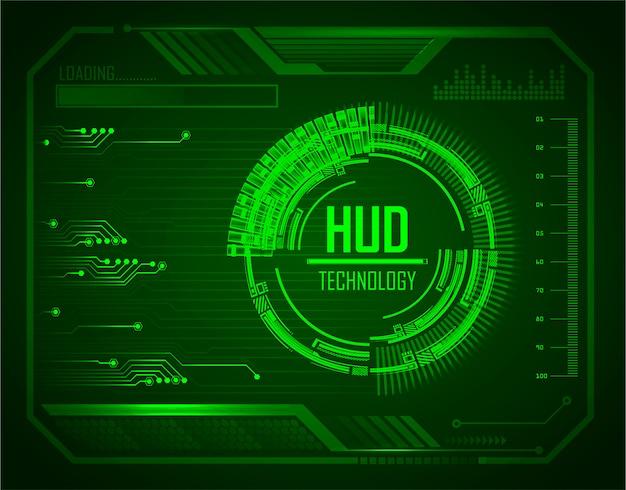 Blauer hud-cyberstromkreis-zukünftiger technologiekonzepthintergrund Premium Vektoren