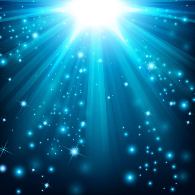 Blauer lichteffekt, der mit scheinen beleuchtet wird Premium Vektoren