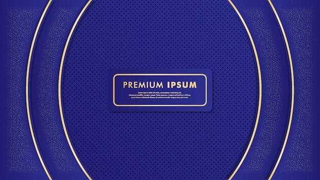 Blauer luxushintergrund mit golddetailis Premium Vektoren