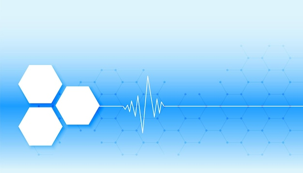 Blauer medizinischer hintergrund mit herzschlaglinie und sechseckigen formen Kostenlosen Vektoren