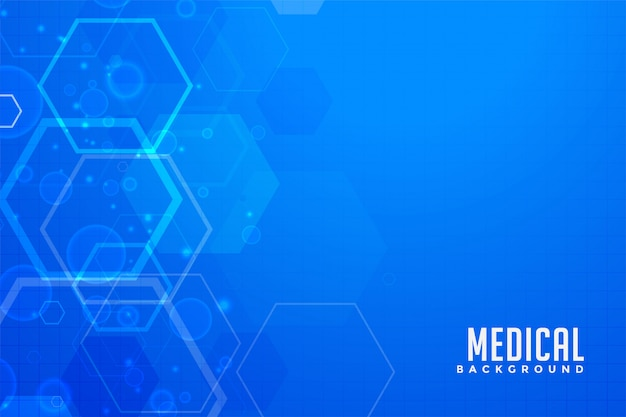 Blauer medizinischer hintergrund mit sechseckigen formen Kostenlosen Vektoren