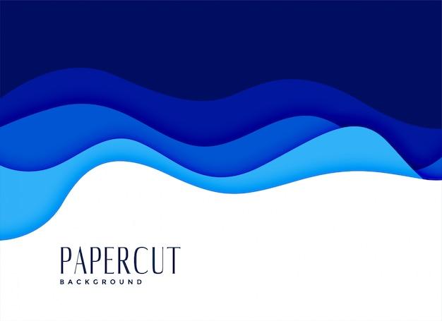 Blauer papercut gewellter wasserarthintergrund Kostenlosen Vektoren
