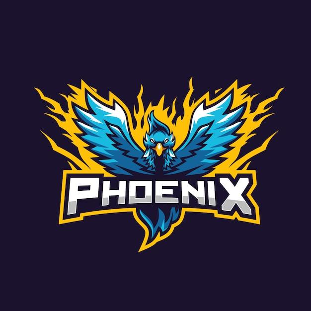 Blauer phönix fantastisch für spieltruppesportlogo Premium Vektoren