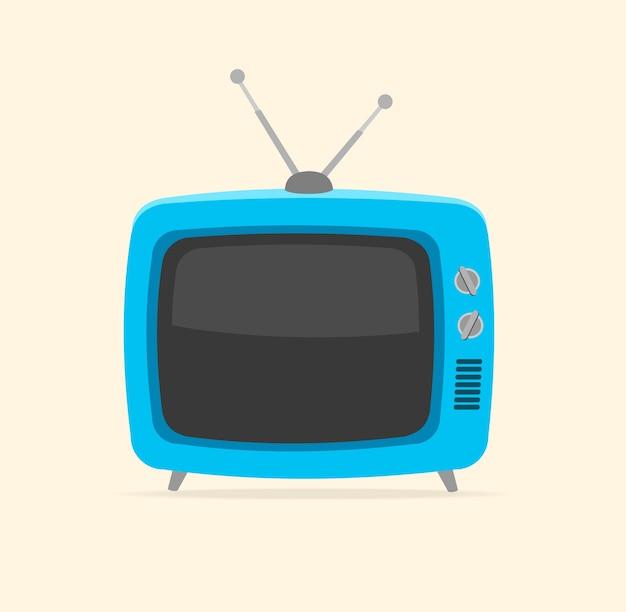 Blauer retro-fernseher und winzige antenne lokalisiert auf weißem hintergrund. Premium Vektoren