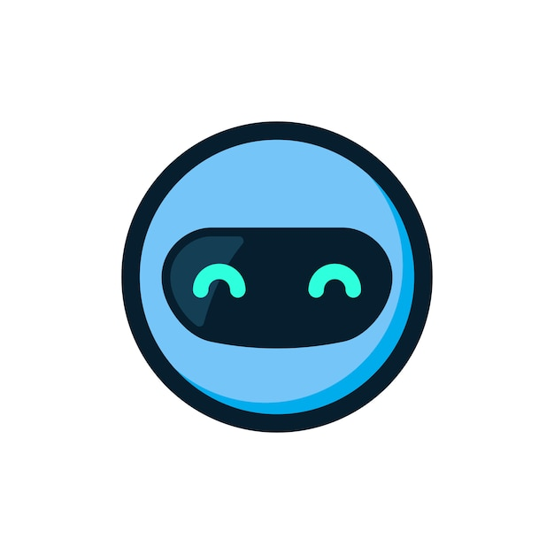 Blauer robotermaskottchenlogo-ikonenvektor Premium Vektoren