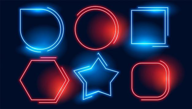 Blauer roter geometrischer neonleerrahmensatz Kostenlosen Vektoren