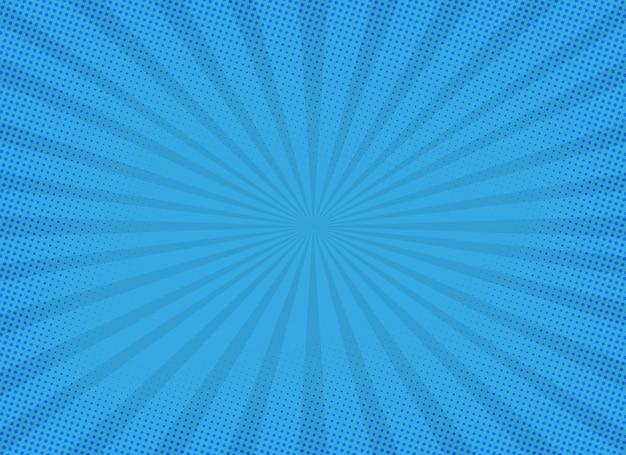 Blauer sonnendurchbruchhintergrund mit halbtoneffekt Premium Vektoren