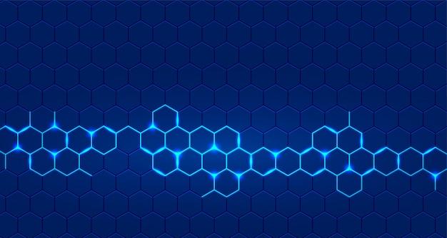 Blauer technologiehintergrund mit dem sechseckigen glühen Kostenlosen Vektoren