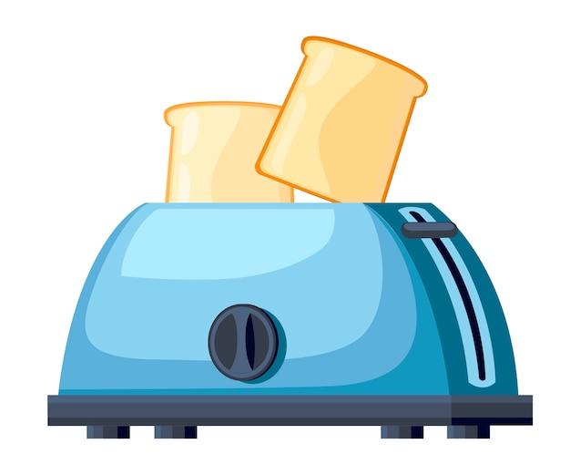 Blauer toaster. stahl toaster mit zwei scheiben brot. . illustration auf weißem hintergrund. Premium Vektoren