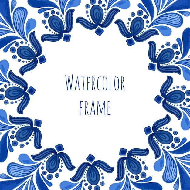 Blauer traditioneller blumenrahmen in russischer gzhel art oder in holland-art. Premium Vektoren
