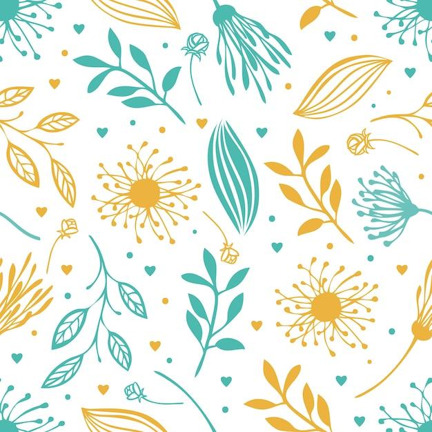 Blauer und gelber abstrakter blumenhintergrund Kostenlosen Vektoren