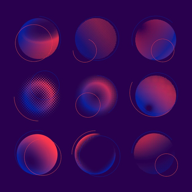 Blauer und rosa halbtonausweisvektorsatz Kostenlosen Vektoren