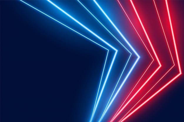 Blauer und roter neon-led-lichtlinien-hintergrund Kostenlosen Vektoren