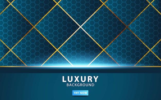 Blauer vektorhintergrund der abstrakten luxustechnologie mit goldlinie. Premium Vektoren