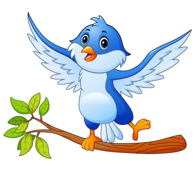 Blauer vogel der karikatur, der auf baumast und der aufstellung steht Premium Vektoren