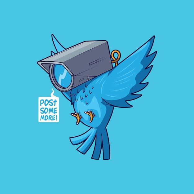 Blauer vogel mit kamerakopfillustration Premium Vektoren