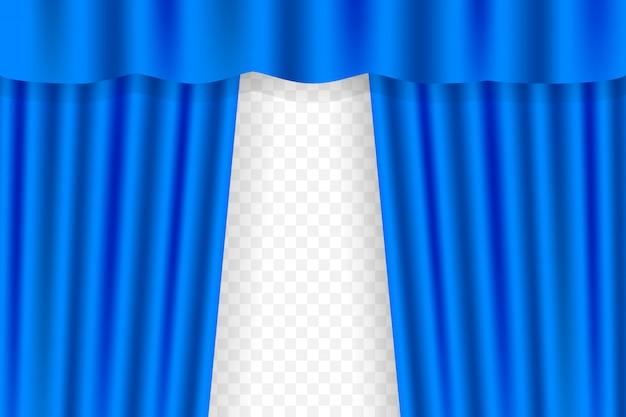 Blauer vorhang für opern-, kino- oder theatervorhänge. illustration. Premium Vektoren