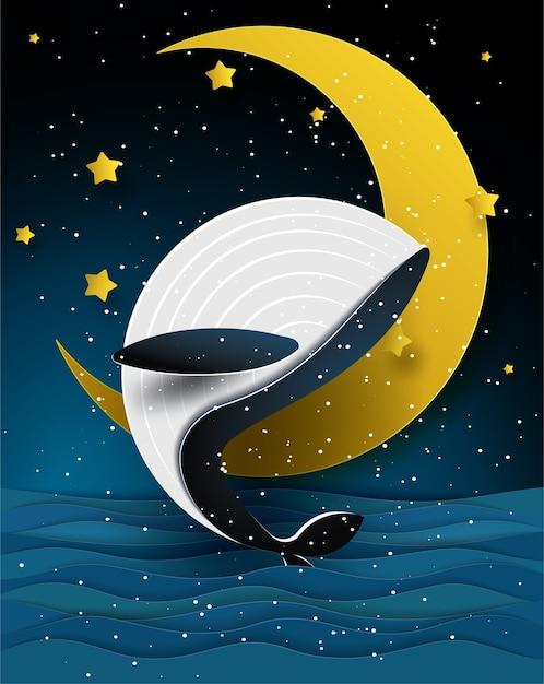 Blauer wal und mond auf schönem meerblick in der nachtzeit, in der papierkunst und in der handwerksart. Premium Vektoren