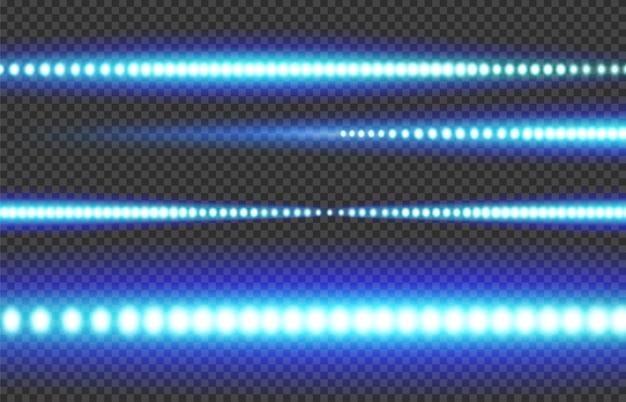 Blauer weißer leuchtender led-lichtstreifen auf einem transparenten hintergrund. Premium Vektoren