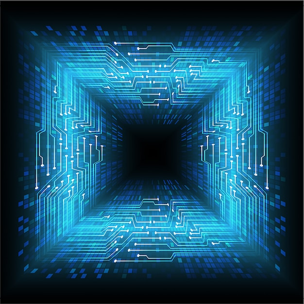 Blauer zukünftiger technologiekonzepthintergrund des cyberstromkreises Premium Vektoren