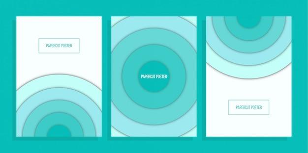 Blaues abdeckungsdesign des abstrakten kreises Premium Vektoren