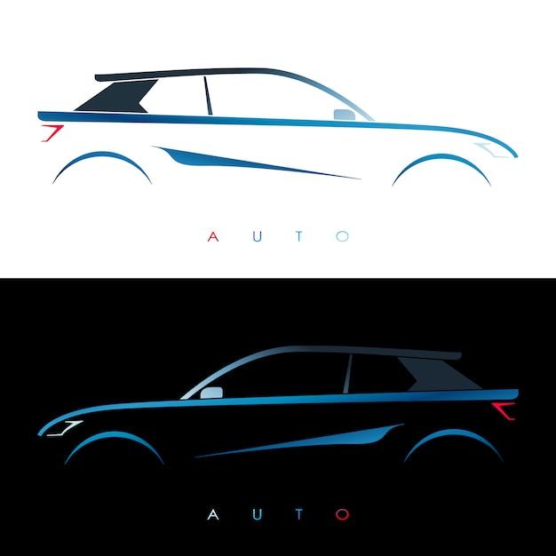 Blaues auto entwerfen Premium Vektoren