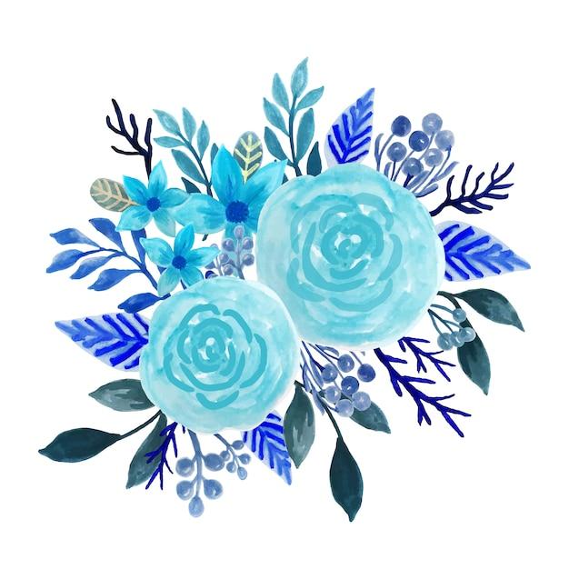Blaues blumenstraußaquarell Premium Vektoren