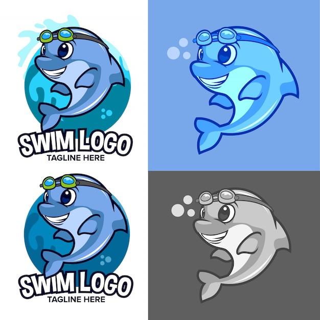 Blaues delphinschwimmen-schullogo mit karikaturmaskottchen Premium Vektoren