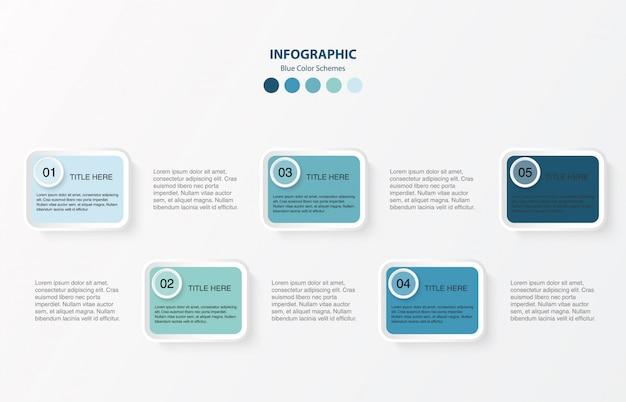 Blaues farbquadrat infografiken mit 4 schritten. infographic plandesign des modernen vektors. Premium Vektoren