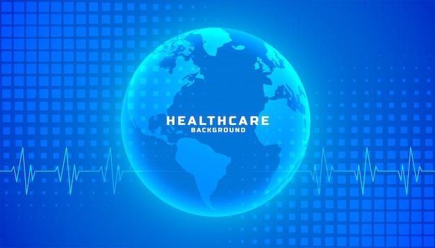 Blaues farbthema des medizinischen hintergrunds des globalen gesundheitswesens Kostenlosen Vektoren