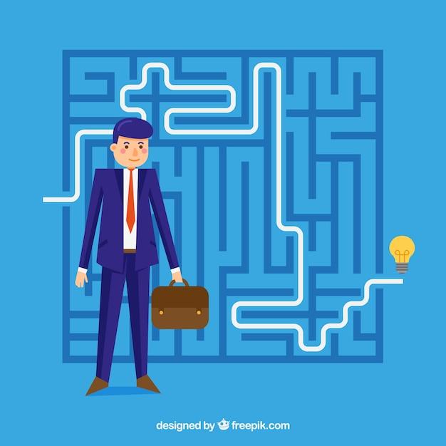 Blaues geschäftskonzept mit labyrinth Premium Vektoren