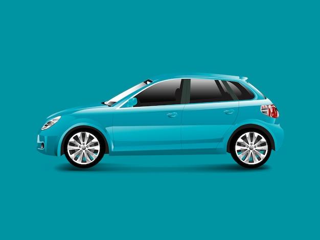 Blaues hatchbackauto in einem blauen hintergrundvektor Kostenlosen Vektoren