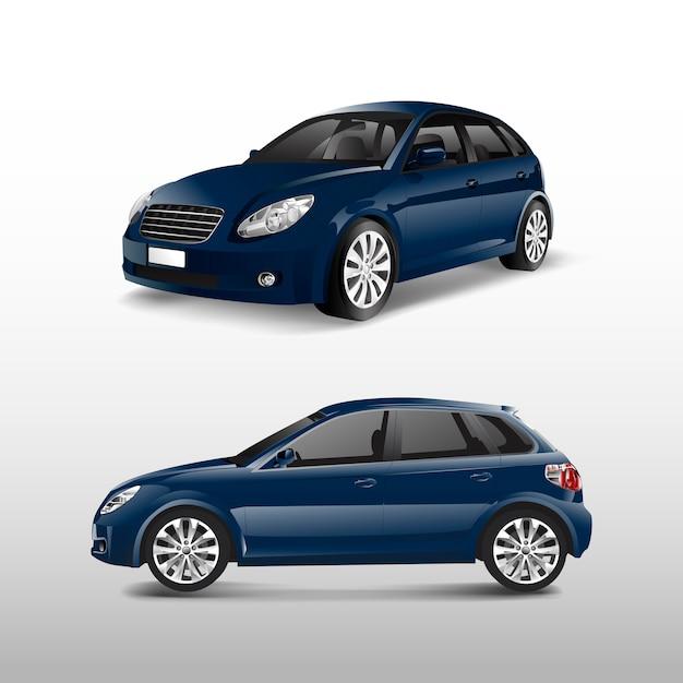 Blaues hatchbackauto lokalisiert auf weißem vektor Kostenlosen Vektoren
