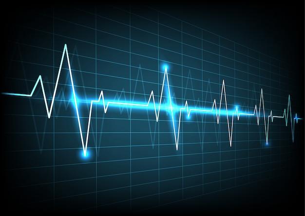 Blaues herzimpulsüberwachungsgerät mit signalhintergrund Premium Vektoren