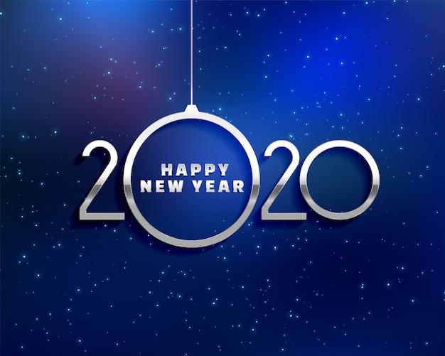 Blaues kartendesign des kreativen guten rutsch ins neue jahr 2020 Kostenlosen Vektoren
