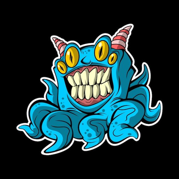Blaues krakenmonster Premium Vektoren