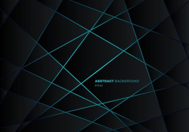 Blaues licht-neondesign des abstrakten schwarzen geometrischen polygons Premium Vektoren