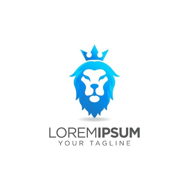 Blaues löwenkopf-logo Premium Vektoren