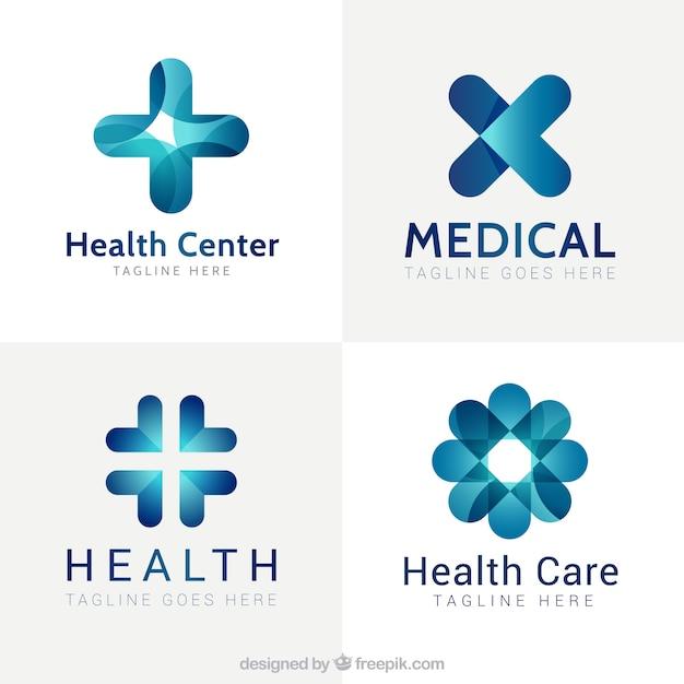Blaues modernes medizinisches zentrum logos Kostenlosen Vektoren