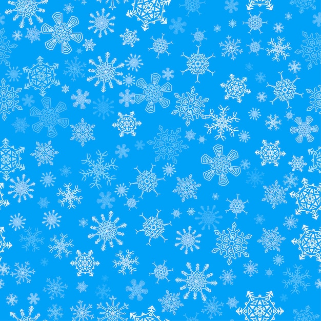 Blaues nahtloses weihnachtsmuster mit verschiedenen schneeflocken Premium Vektoren