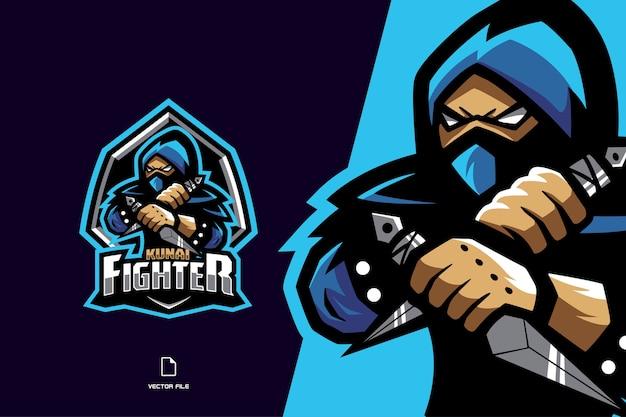Blaues ninja-maskottchen-spielelogo für esport- und sportmannschaft Premium Vektoren