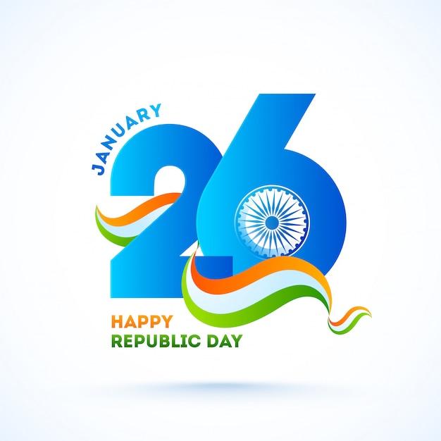 Blaues papier schnitt am 26. januar text mit ashoka-rad und gewelltem tricolor-band für glückliche tag der republik-feier. Premium Vektoren
